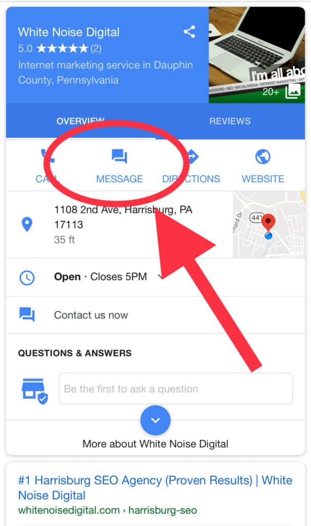Google My Business Messaging Feature